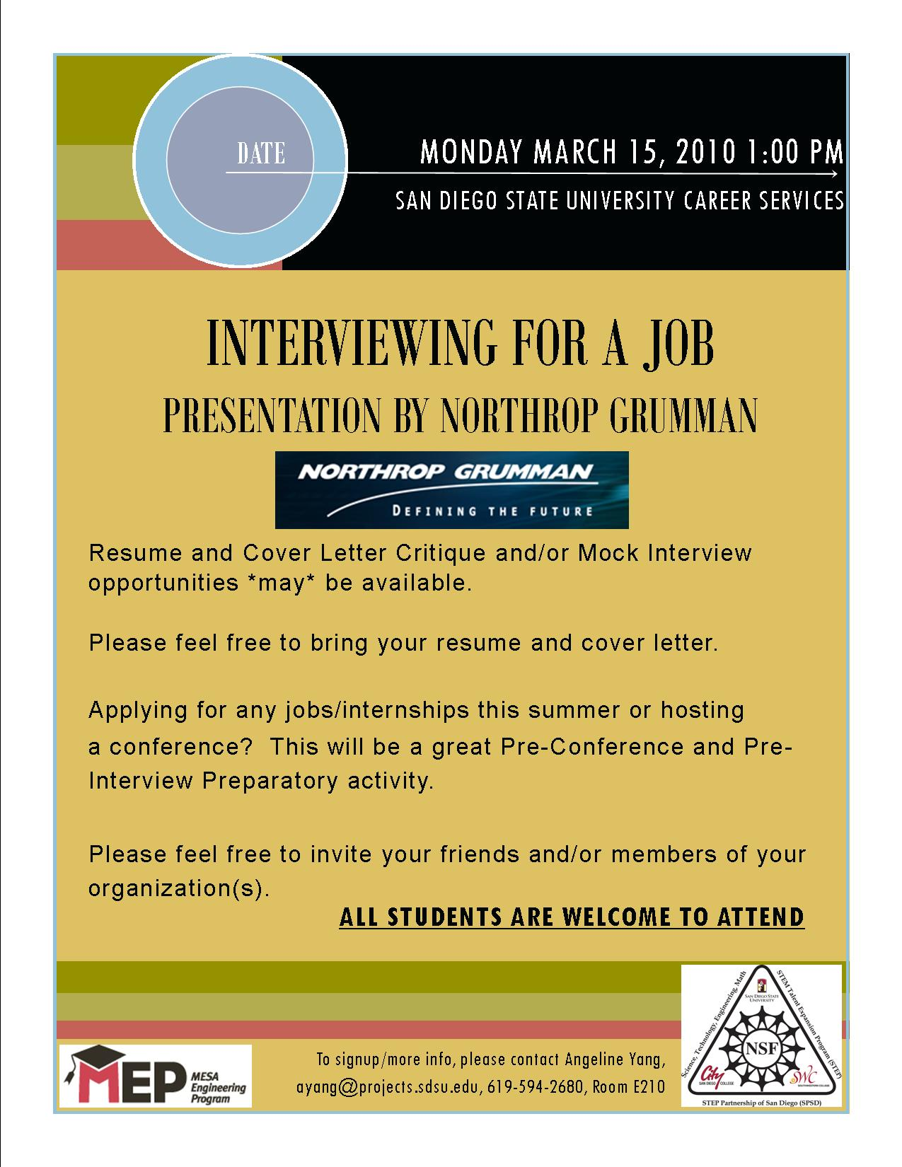 Mock Interview, and Resume and Cover Letter Critique – San Diego ...