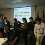 A team on the verge on solving the 'Spot Twister' icebreaker activity.