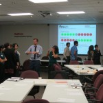 Attendees communicate possible solutions to the 'Spot Twister' icebreaker activity.