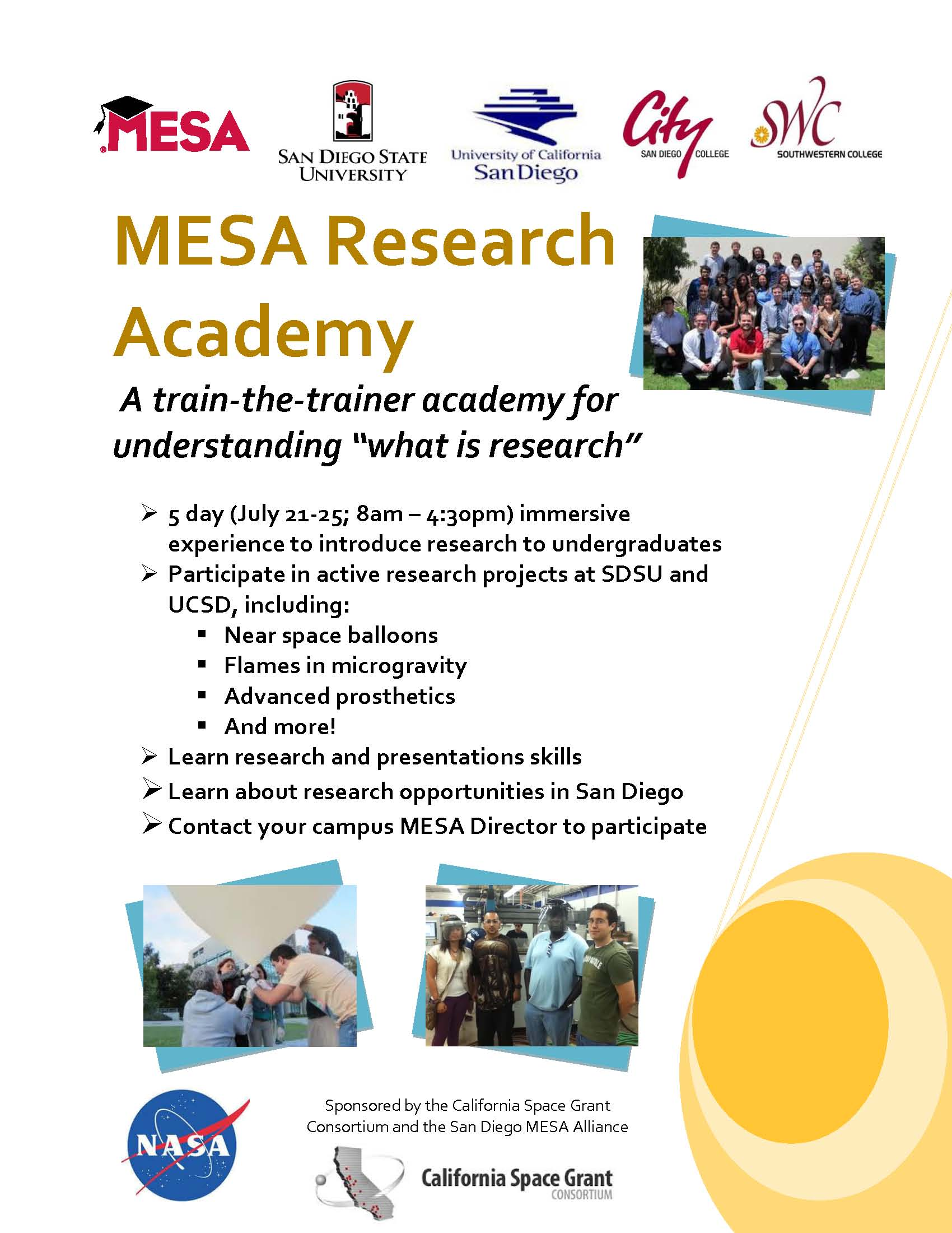 MESA Research Academy flyer
