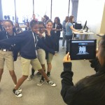 Girls from O'Farrell Charter School test out a feature of Google Cardboard.